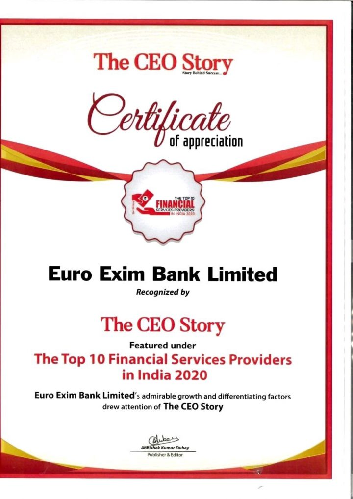EURO EXIM BANK RECOGNITION CERTIFICATE
